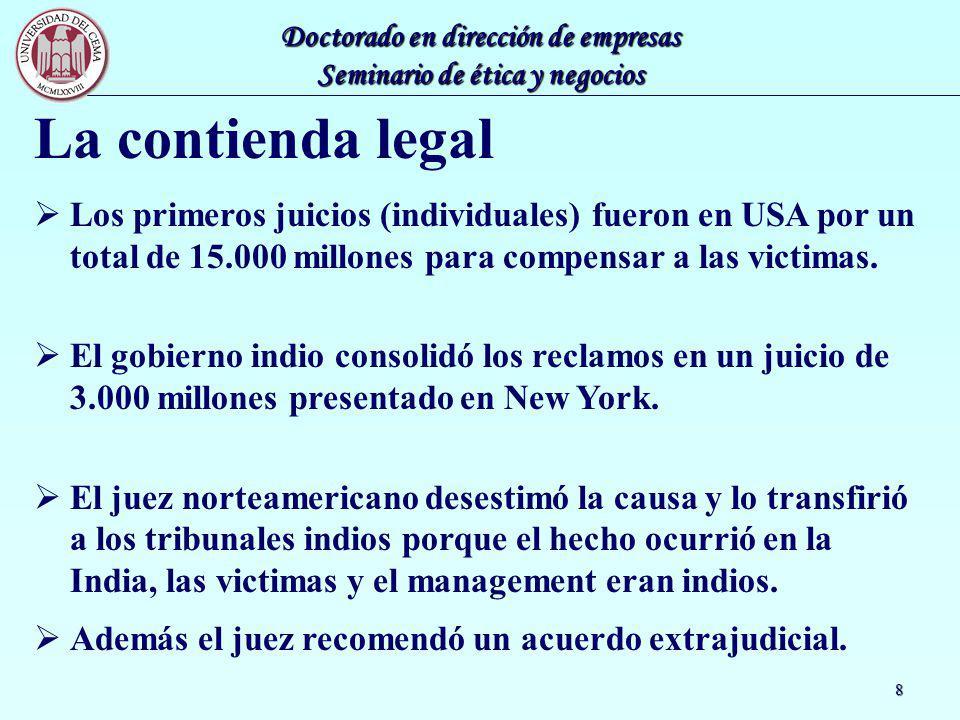 Doctorado en dirección de empresas Seminario de ética y negocios 8 La contienda legal Los primeros juicios (individuales) fueron en USA por un total d