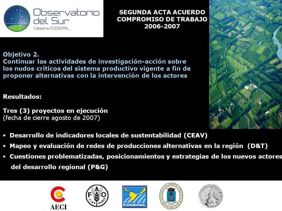 SEGUNDA ACTA ACUERDO COMPROMISO DE TRABAJO 2006-2007 Objetivo 2.