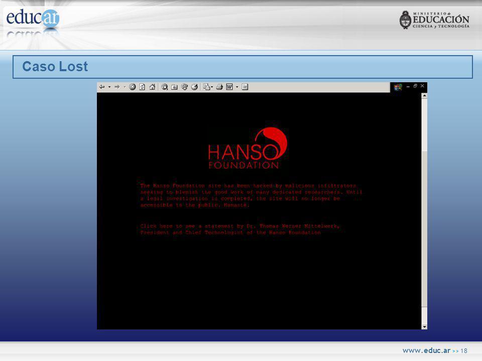 www.educ.ar >> 18 Caso Lost