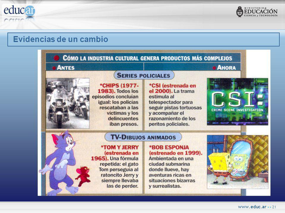 www.educ.ar >> 21 Evidencias de un cambio