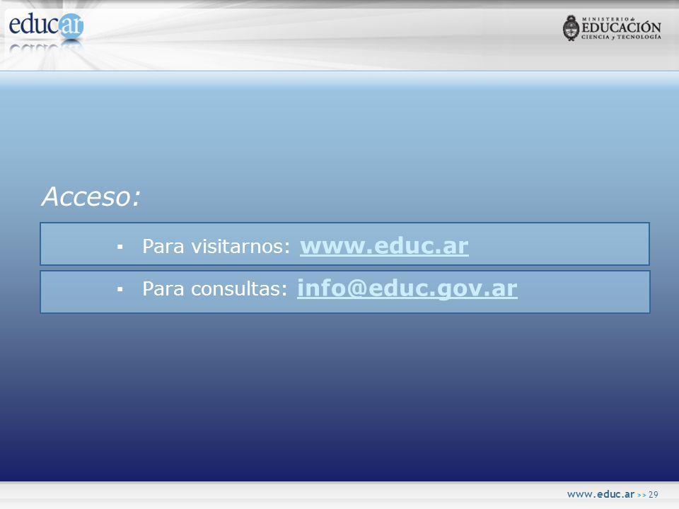 www.educ.ar >> 29 Acceso: Para visitarnos: www.educ.ar www.educ.ar Para consultas: info@educ.gov.ar info@educ.gov.ar