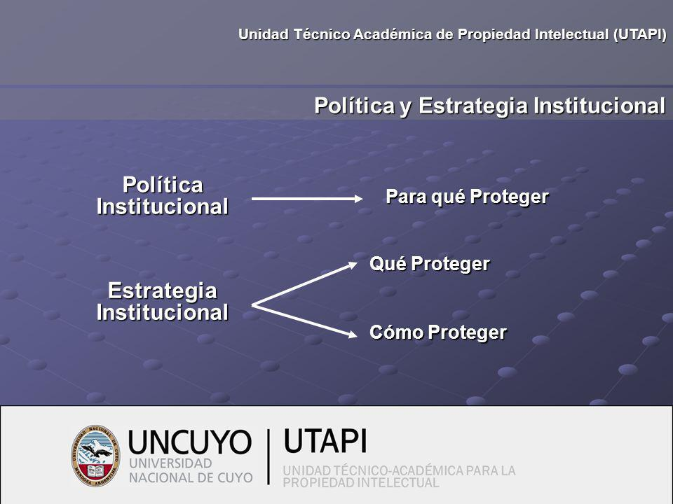 Política Institucional Política y Estrategia Institucional Para qué Proteger Unidad Técnico Académica de Propiedad Intelectual (UTAPI) Estrategia Institucional Qué Proteger Cómo Proteger