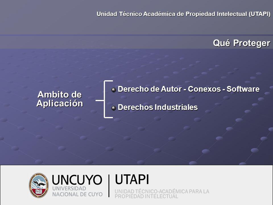 Ambito de Aplicación Derecho de Autor - Conexos - Software Derecho de Autor - Conexos - Software Derechos Industriales Derechos Industriales Qué Proteger Unidad Técnico Académica de Propiedad Intelectual (UTAPI)
