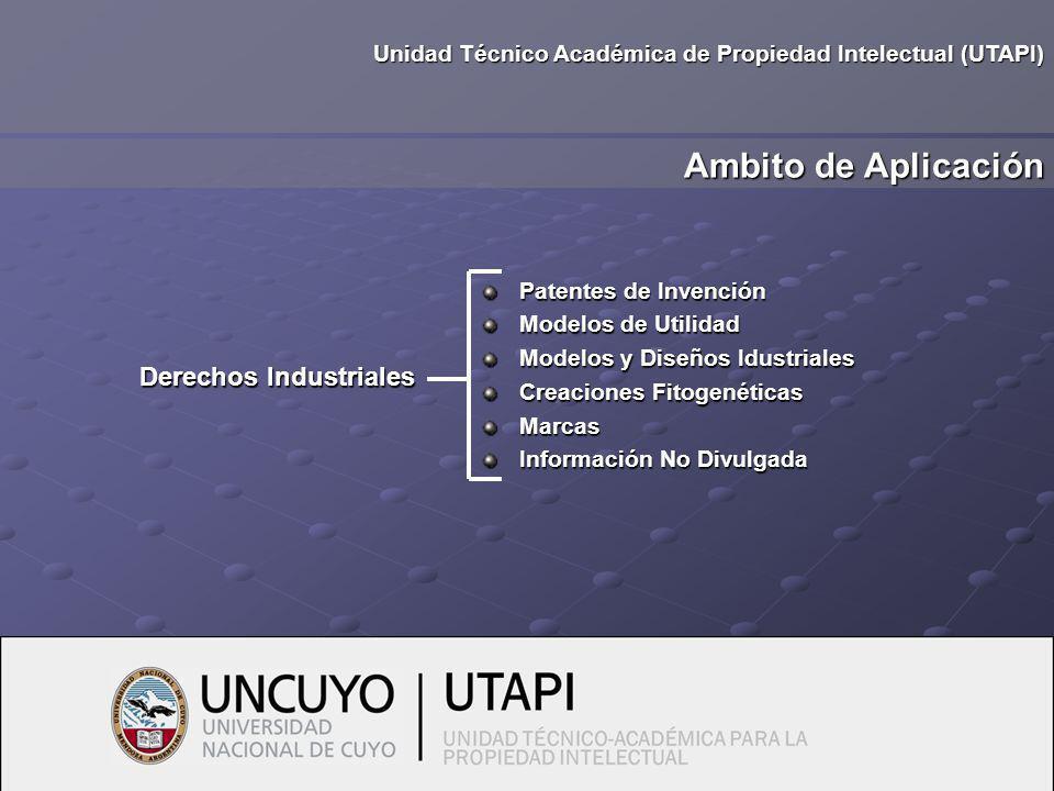 Ambito de Aplicación Unidad Técnico Académica de Propiedad Intelectual (UTAPI) Patentes de Invención Modelos de Utilidad Modelos y Diseños Idustriales Creaciones Fitogenéticas Marcas Información No Divulgada Derechos Industriales