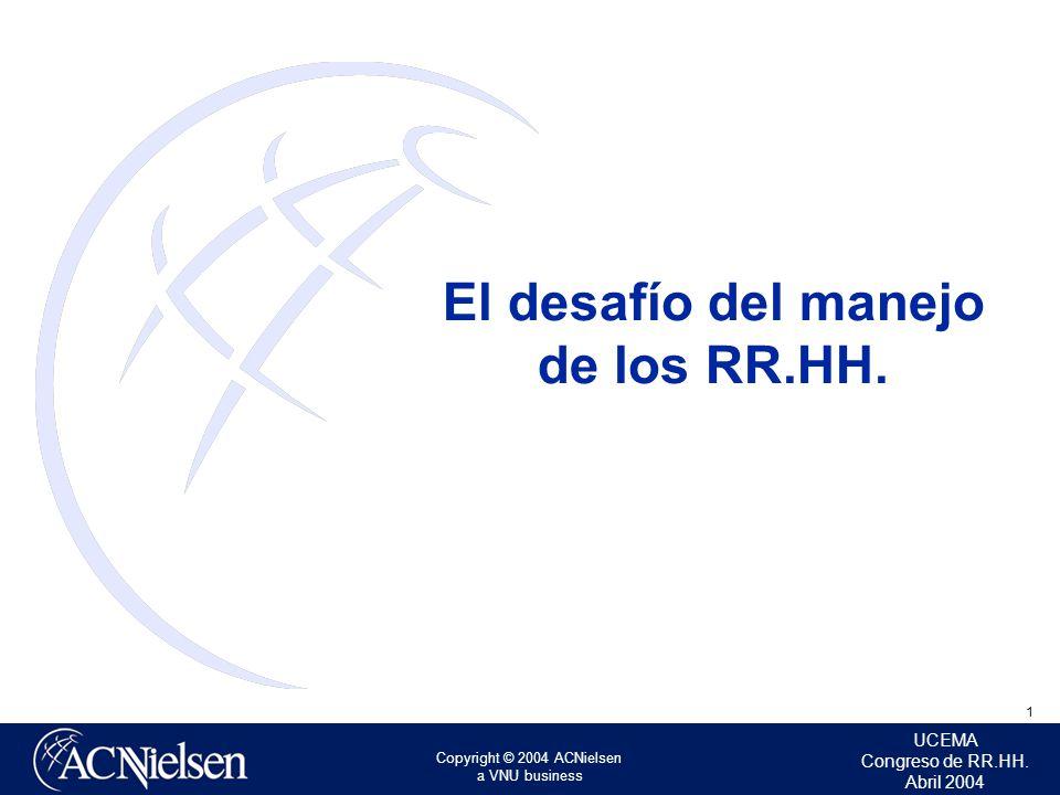 1 UCEMA Congreso de RR.HH. Abril 2004 Copyright © 2004 ACNielsen a VNU business El desafío del manejo de los RR.HH.
