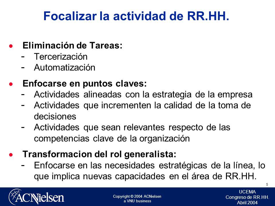 Copyright © 2004 ACNielsen a VNU business UCEMA Congreso de RR.HH. Abril 2004 5 Focalizar la actividad de RR.HH. Eliminación de Tareas:  Tercerizació
