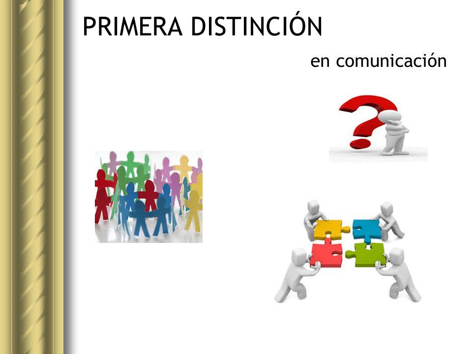 PRIMERA DISTINCIÓN La comunicación como MIRADA La comunicación como PROCESO La PRODUCCIÓN comunicacional