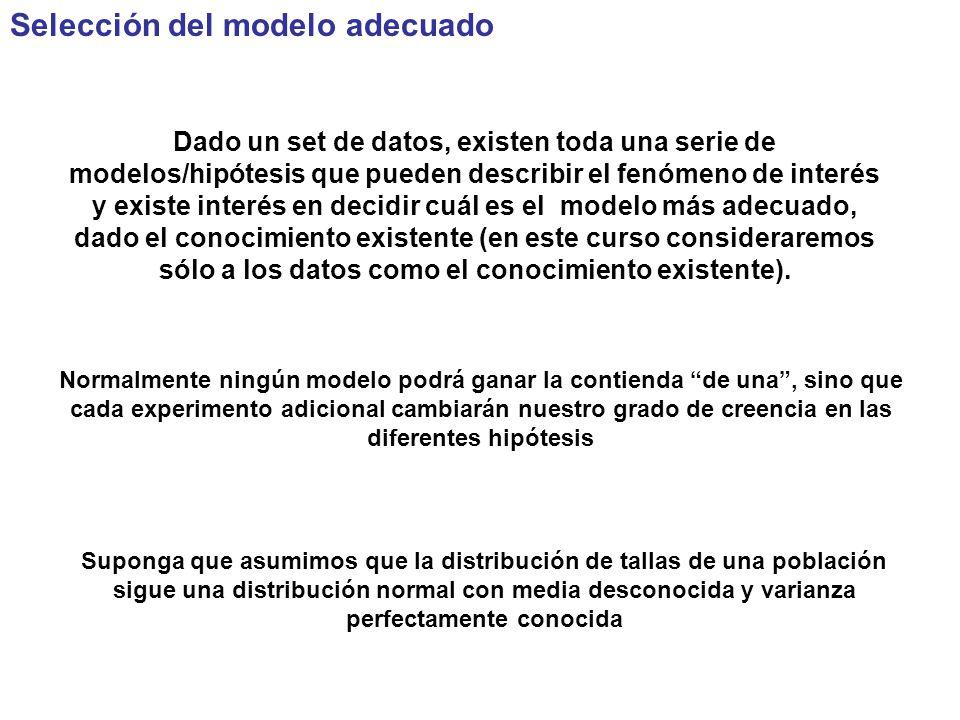 Selección del modelo adecuado Dado un set de datos, existen toda una serie de modelos/hipótesis que pueden describir el fenómeno de interés y existe interés en decidir cuál es el modelo más adecuado, dado el conocimiento existente (en este curso consideraremos sólo a los datos como el conocimiento existente).
