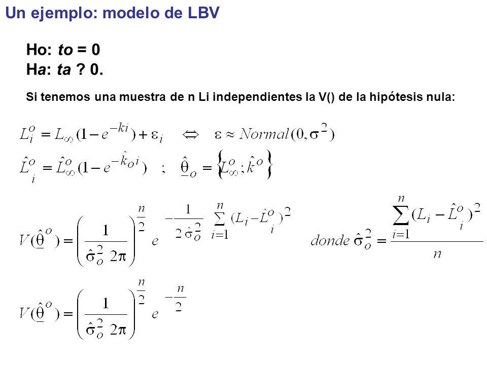 Un ejemplo: modelo de LBV Ho: to = 0 Ha: ta .0.