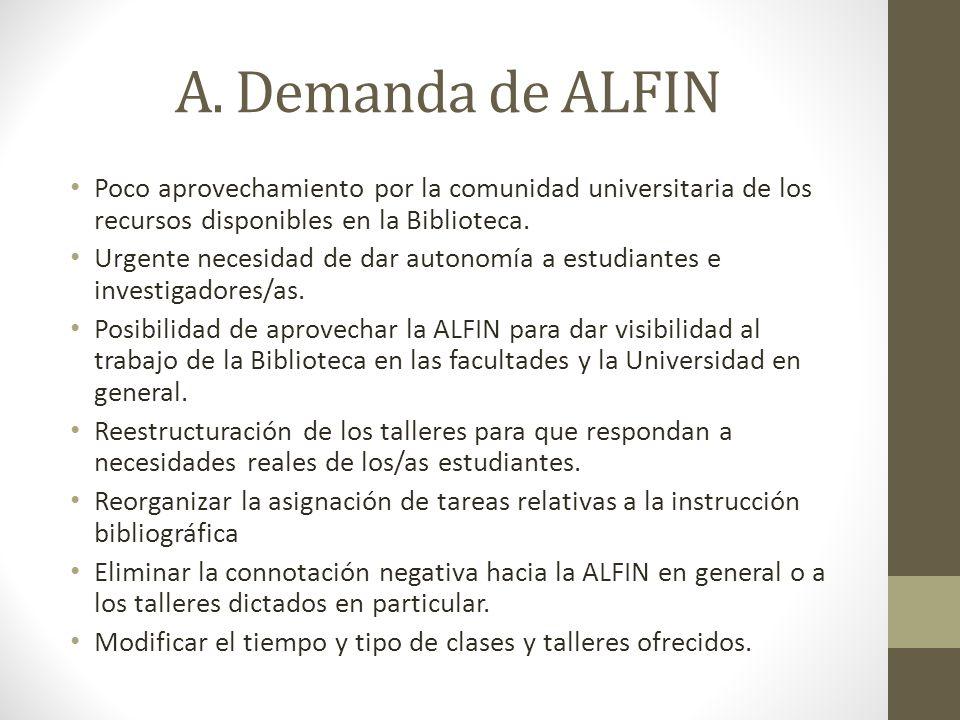 A. Demanda de ALFIN Poco aprovechamiento por la comunidad universitaria de los recursos disponibles en la Biblioteca. Urgente necesidad de dar autonom