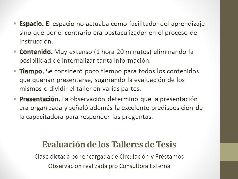 Evaluación de los Talleres de Tesis Clase dictada por encargada de Circulación y Préstamos Observación realizada pro Consultora Externa Espacio. Espac