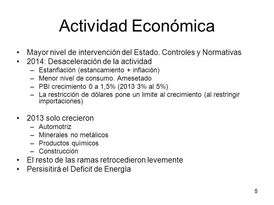 5 Actividad Económica Mayor nivel de intervención del Estado. Controles y Normativas 2014: Desaceleración de la actividad –Estanflación (estancamiento