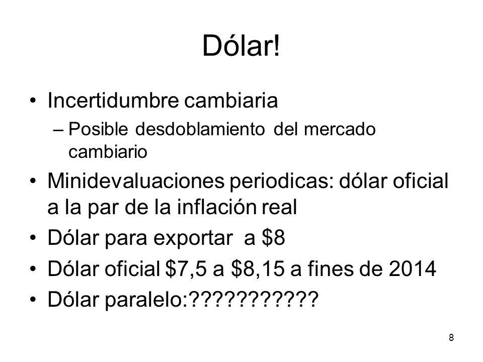 8 Dólar! Incertidumbre cambiaria –Posible desdoblamiento del mercado cambiario Minidevaluaciones periodicas: dólar oficial a la par de la inflación re