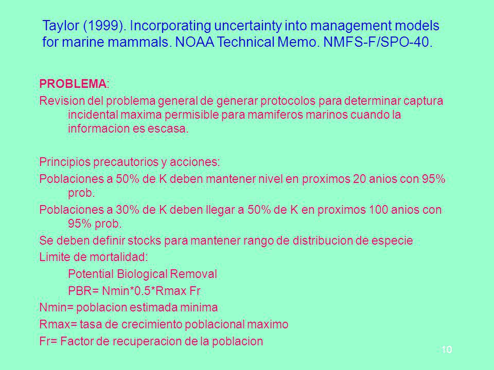 10 Taylor (1999). Incorporating uncertainty into management models for marine mammals. NOAA Technical Memo. NMFS-F/SPO-40. PROBLEMA: Revision del prob