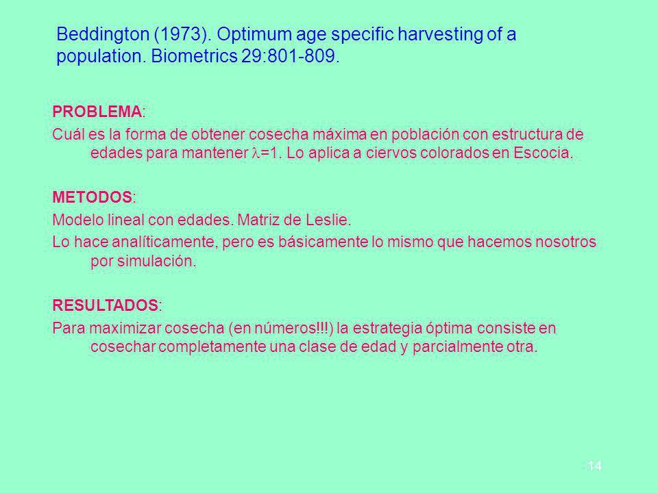 14 Beddington (1973). Optimum age specific harvesting of a population. Biometrics 29:801-809. PROBLEMA: Cuál es la forma de obtener cosecha máxima en