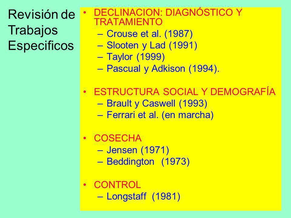6 DECLINACION: DIAGNÓSTICO Y TRATAMIENTO –Crouse et al. (1987) –Slooten y Lad (1991) –Taylor (1999) –Pascual y Adkison (1994). ESTRUCTURA SOCIAL Y DEM