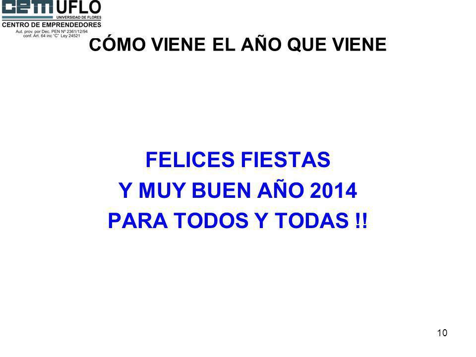 10 CÓMO VIENE EL AÑO QUE VIENE FELICES FIESTAS Y MUY BUEN AÑO 2014 PARA TODOS Y TODAS !!