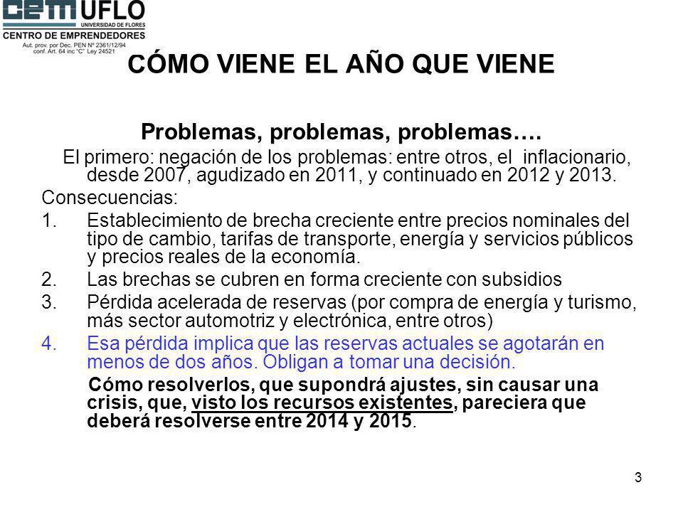 3 CÓMO VIENE EL AÑO QUE VIENE Problemas, problemas, problemas…. El primero: negación de los problemas: entre otros, el inflacionario, desde 2007, agud