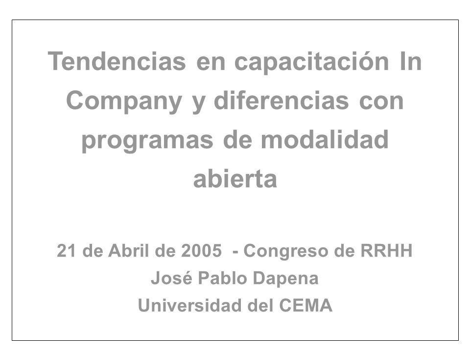 Tendencias en capacitación In Company y diferencias con programas de modalidad abierta 21 de Abril de 2005 - Congreso de RRHH José Pablo Dapena Universidad del CEMA