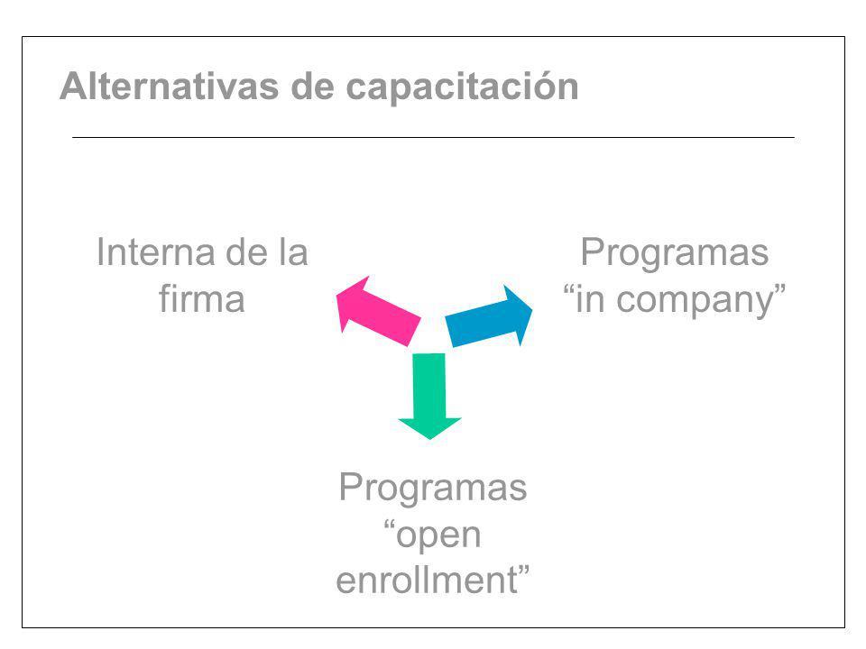 Alternativas de capacitación Programas in company Interna de la firma Programas open enrollment
