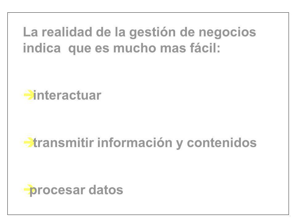 La realidad de la gestión de negocios indica que es mucho mas fácil: è interactuar è transmitir información y contenidos èprocesar datos
