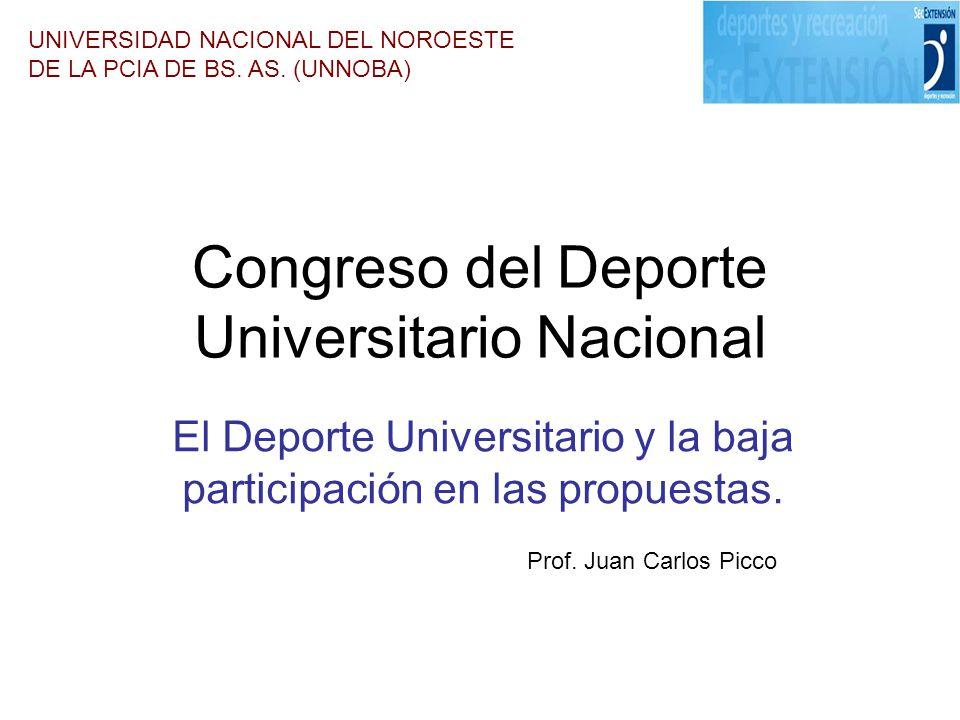 Congreso del Deporte Universitario Nacional El Deporte Universitario y la baja participación en las propuestas. UNIVERSIDAD NACIONAL DEL NOROESTE DE L