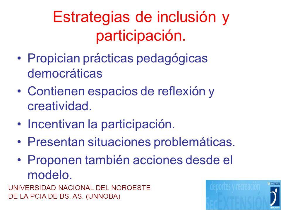 Estrategias de inclusión y participación. Propician prácticas pedagógicas democráticas Contienen espacios de reflexión y creatividad. Incentivan la pa