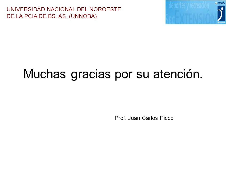 Muchas gracias por su atención. UNIVERSIDAD NACIONAL DEL NOROESTE DE LA PCIA DE BS. AS. (UNNOBA) Prof. Juan Carlos Picco