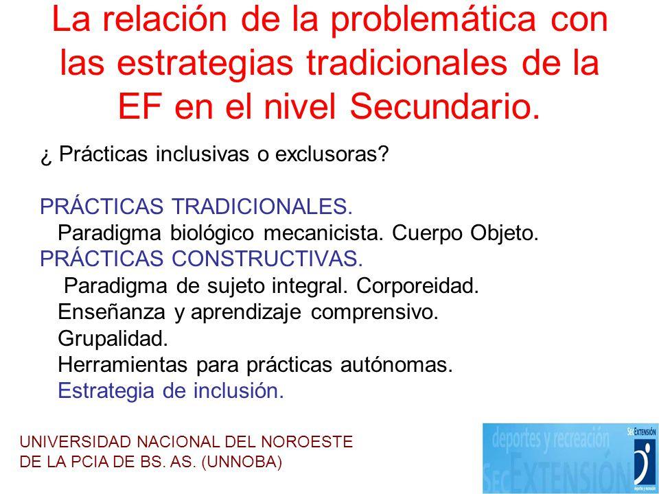 La relación de la problemática con las estrategias tradicionales de la EF en el nivel Secundario. ¿ Prácticas inclusivas o exclusoras? PRÁCTICAS TRADI