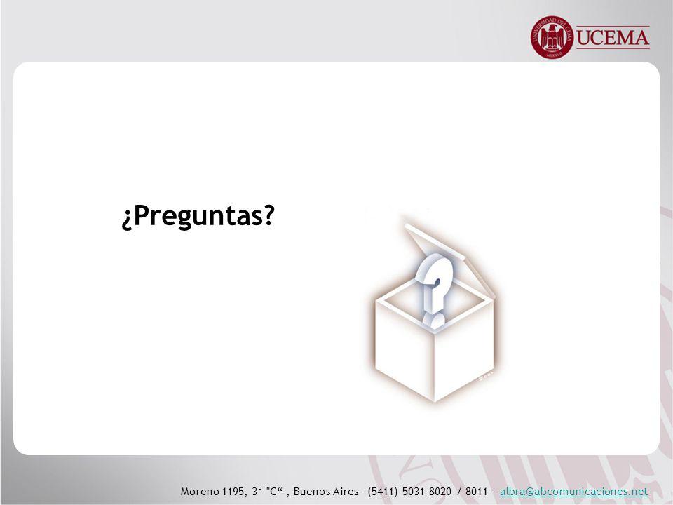 Moreno 1195, 3° C, Buenos Aires - (5411) 5031-8020 / 8011 - albra@abcomunicaciones.netalbra@abcomunicaciones.net ¿Preguntas