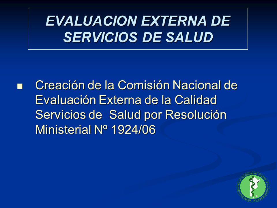 EVALUACION EXTERNA DE SERVICIOS DE SALUD Creación de la Comisión Nacional de Evaluación Externa de la Calidad Servicios de Salud por Resolución Minist