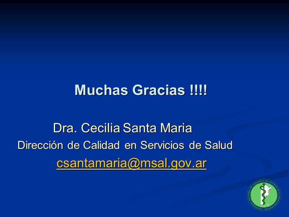 Muchas Gracias !!!! Muchas Gracias !!!! Dra. Cecilia Santa Maria Dra. Cecilia Santa Maria Dirección de Calidad en Servicios de Salud csantamaria@msal.
