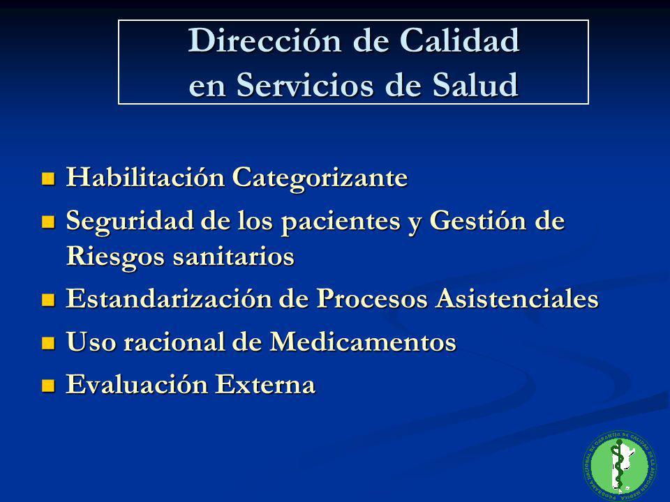 Dirección de Calidad en Servicios de Salud Habilitación Categorizante Habilitación Categorizante Seguridad de los pacientes y Gestión de Riesgos sanit