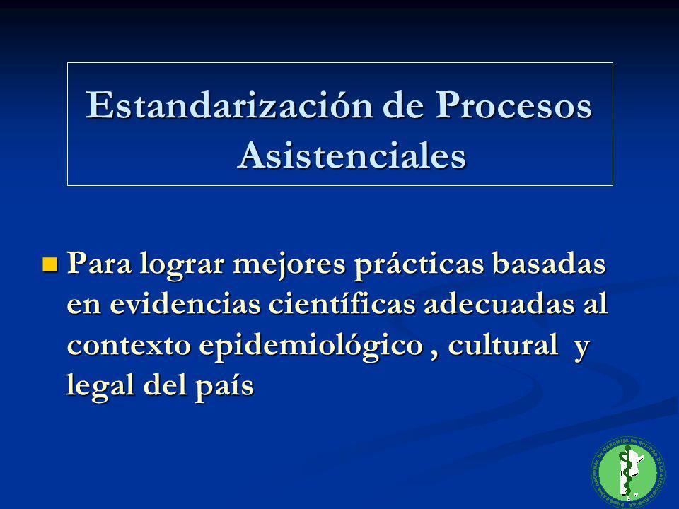 Estandarización de Procesos Asistenciales Para lograr mejores prácticas basadas en evidencias científicas adecuadas al contexto epidemiológico, cultur