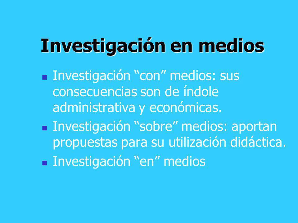 Investigación en medios Investigación con medios: sus consecuencias son de índole administrativa y económicas. Investigación sobre medios: aportan pro