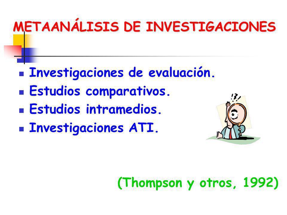 METAANÁLISIS DE INVESTIGACIONES Investigaciones de evaluación. Estudios comparativos. Estudios intramedios. Investigaciones ATI. (Thompson y otros, 19