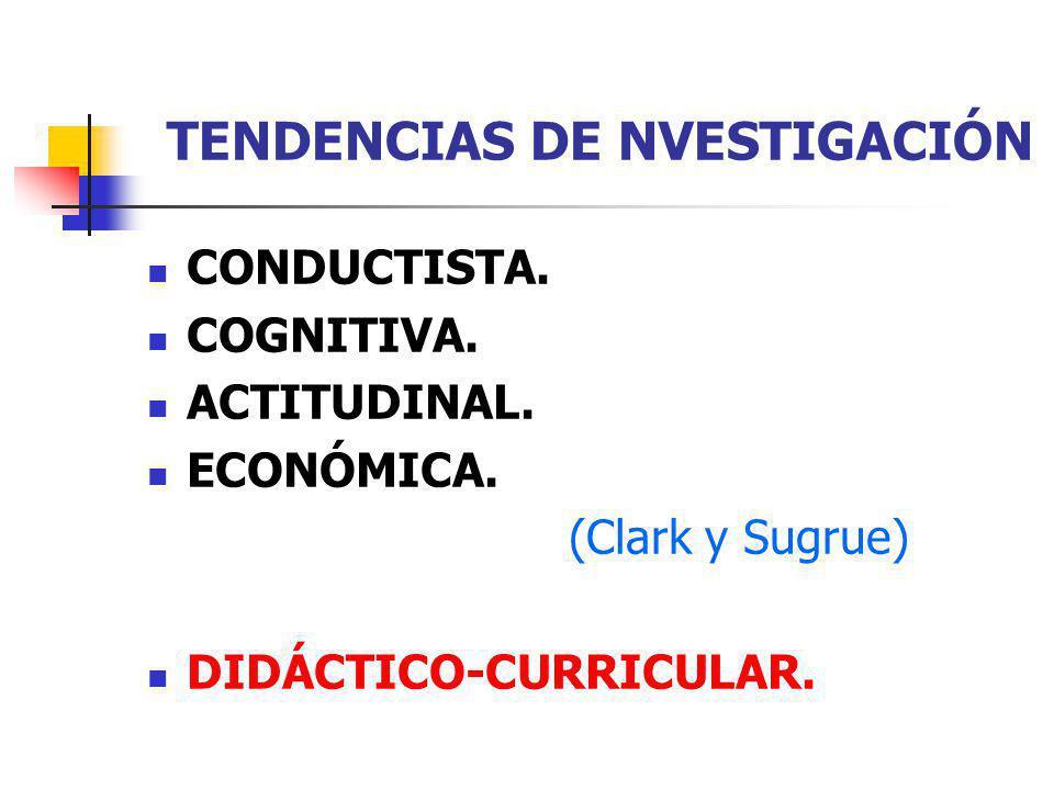 TENDENCIAS DE NVESTIGACIÓN CONDUCTISTA. COGNITIVA. ACTITUDINAL. ECONÓMICA. (Clark y Sugrue) DIDÁCTICO-CURRICULAR.