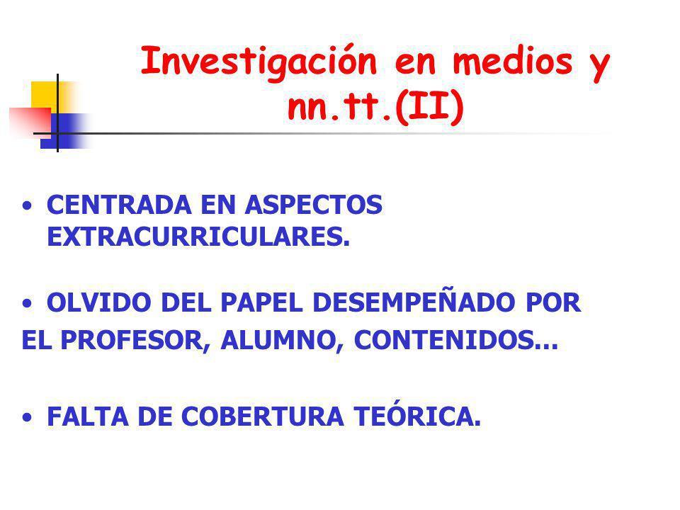 Investigación en medios y nn.tt.(II) CENTRADA EN ASPECTOS EXTRACURRICULARES. OLVIDO DEL PAPEL DESEMPEÑADO POR EL PROFESOR, ALUMNO, CONTENIDOS... FALTA