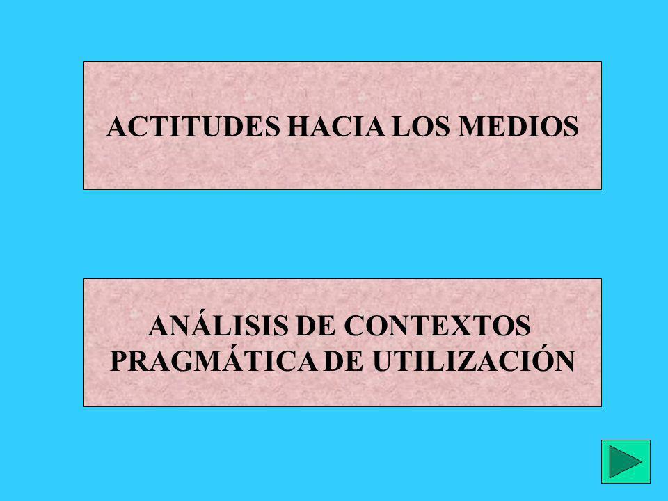 ACTITUDES HACIA LOS MEDIOS ANÁLISIS DE CONTEXTOS PRAGMÁTICA DE UTILIZACIÓN