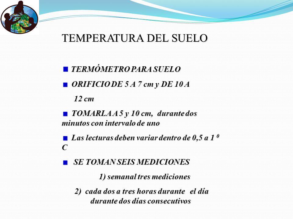 TEMPERATURA DEL SUELO TERMÓMETRO PARA SUELO ORIFICIO DE 5 A 7 cm y DE 10 A ORIFICIO DE 5 A 7 cm y DE 10 A 12 cm 12 cm TOMARLA A 5 y 10 cm, durante dos minutos con intervalo de uno TOMARLA A 5 y 10 cm, durante dos minutos con intervalo de uno Las lecturas deben variar dentro de 0,5 a 1 0 C Las lecturas deben variar dentro de 0,5 a 1 0 C SE TOMAN SEIS MEDICIONES SE TOMAN SEIS MEDICIONES 1) semanal tres mediciones 1) semanal tres mediciones 2) cada dos a tres horas durante el día durante dos días consecutivos 2) cada dos a tres horas durante el día durante dos días consecutivos