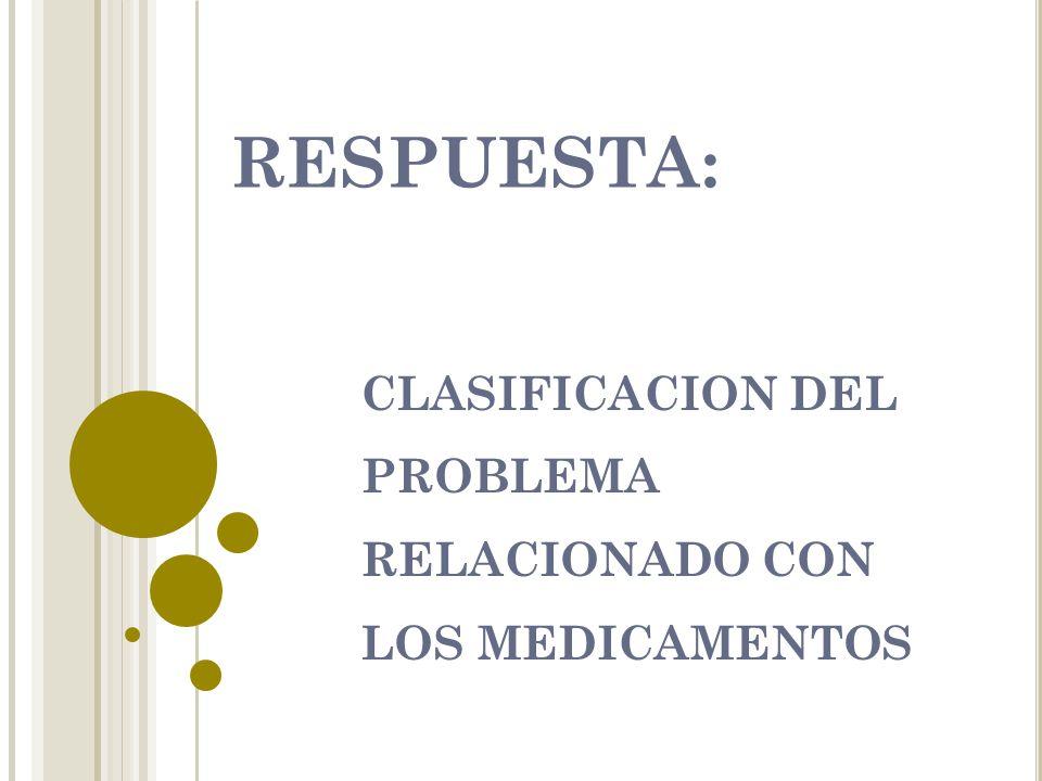 RESPUESTA: CLASIFICACION DEL PROBLEMA RELACIONADO CON LOS MEDICAMENTOS