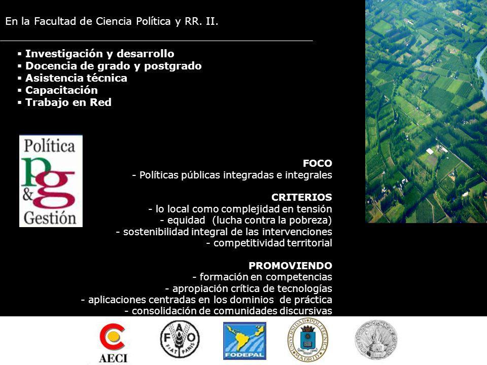 EN FODEPAL Desde el GPP: Curso Gestión de Políticas Públicas en áreas rurales (2003-2006) PERSPECTIVA de Extender las propuestas en el tiempo y el espacio Aunar y multiplicar los esfuerzos Socializar experiencias Favorecer la interdisciplinariedad al DESAFÍO de Gestionar y conducir eficazmente el Punto Focal FODEPAL Consolidar y ampliar el trabajo en red Difundir, extender y profundizar esta experiencia como forma de aportar a la construcción territorial de comunidades discursivas y de prácticas