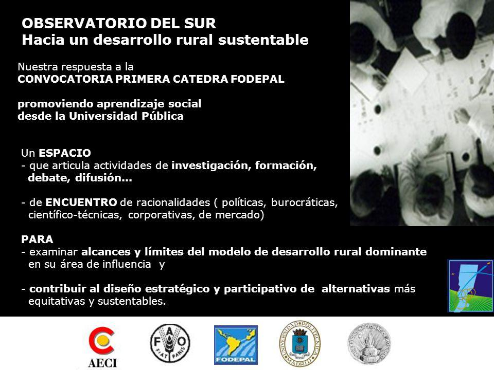 OBSERVATORIO DEL SUR Hacia un desarrollo rural sustentable PRIMERA CATEDRA FODEPAL Presentación en sociedad Rosario, marzo 10 y 11 de 2005