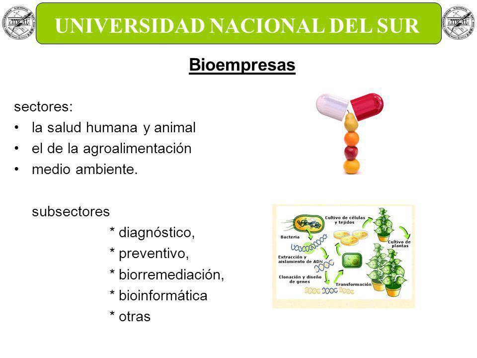 GTEC UNS Gestión de la tecnología y la Innovación UNIVERSIDAD NACIONAL DEL SUR sectores: la salud humana y animal el de la agroalimentación medio ambiente.