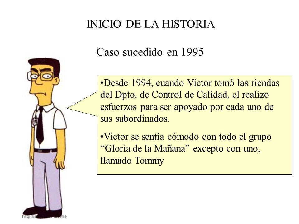 INICIO DE LA HISTORIA Caso sucedido en 1995 Desde 1994, cuando Victor tomó las riendas del Dpto. de Control de Calidad, el realizo esfuerzos para ser