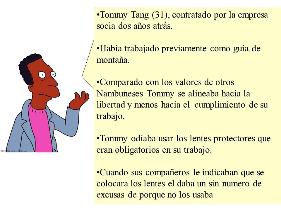 Tommy Tang (31), contratado por la empresa socia dos años atrás. Había trabajado previamente como guía de montaña. Comparado con los valores de otros