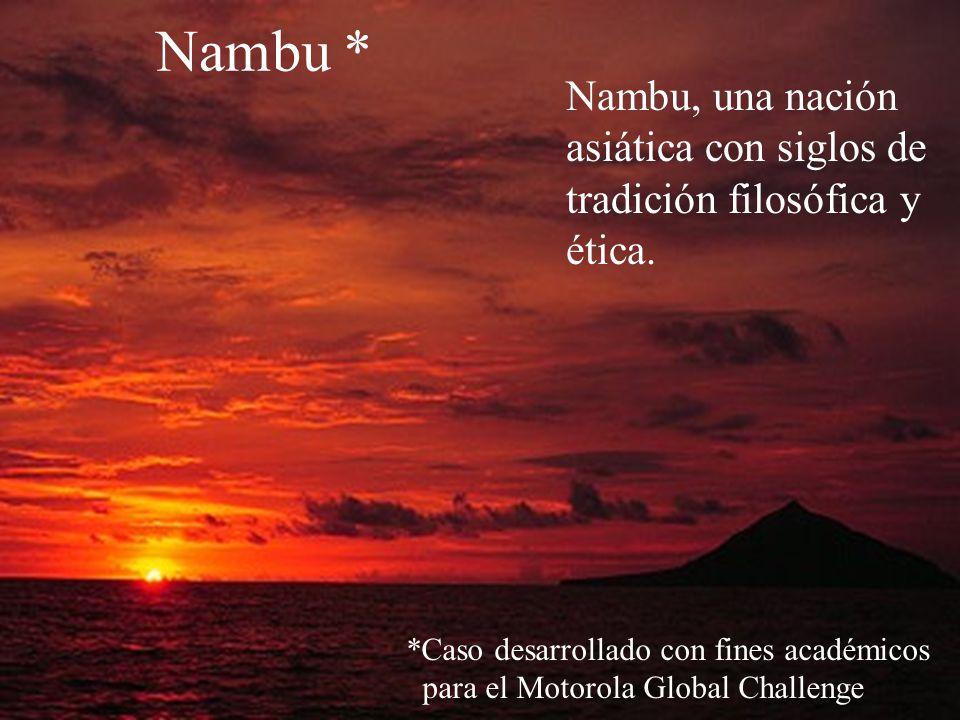 Nambu, una nación asiática con siglos de tradición filosófica y ética. Nambu * *Caso desarrollado con fines académicos para el Motorola Global Challen