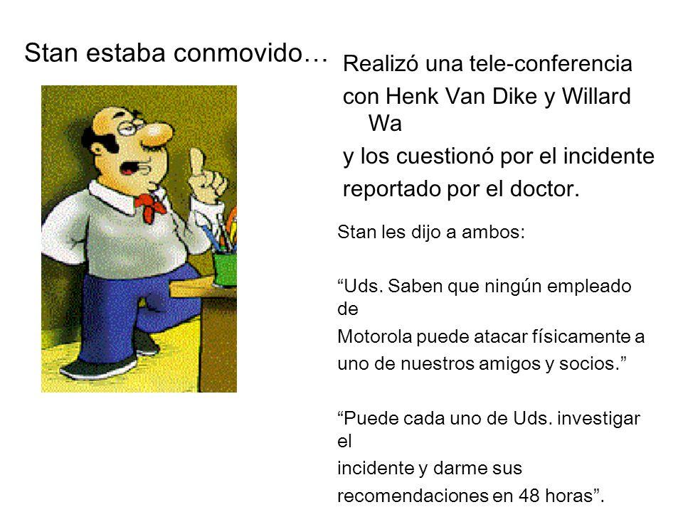 Realizó una tele-conferencia con Henk Van Dike y Willard Wa y los cuestionó por el incidente reportado por el doctor.