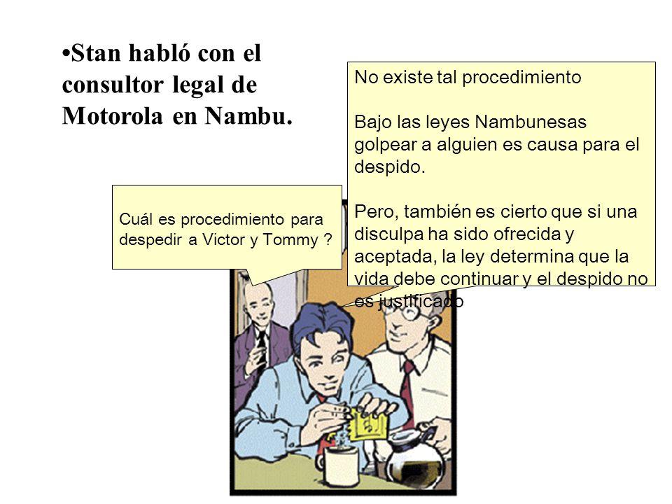 Cuál es procedimiento para despedir a Victor y Tommy ? No existe tal procedimiento Bajo las leyes Nambunesas golpear a alguien es causa para el despid