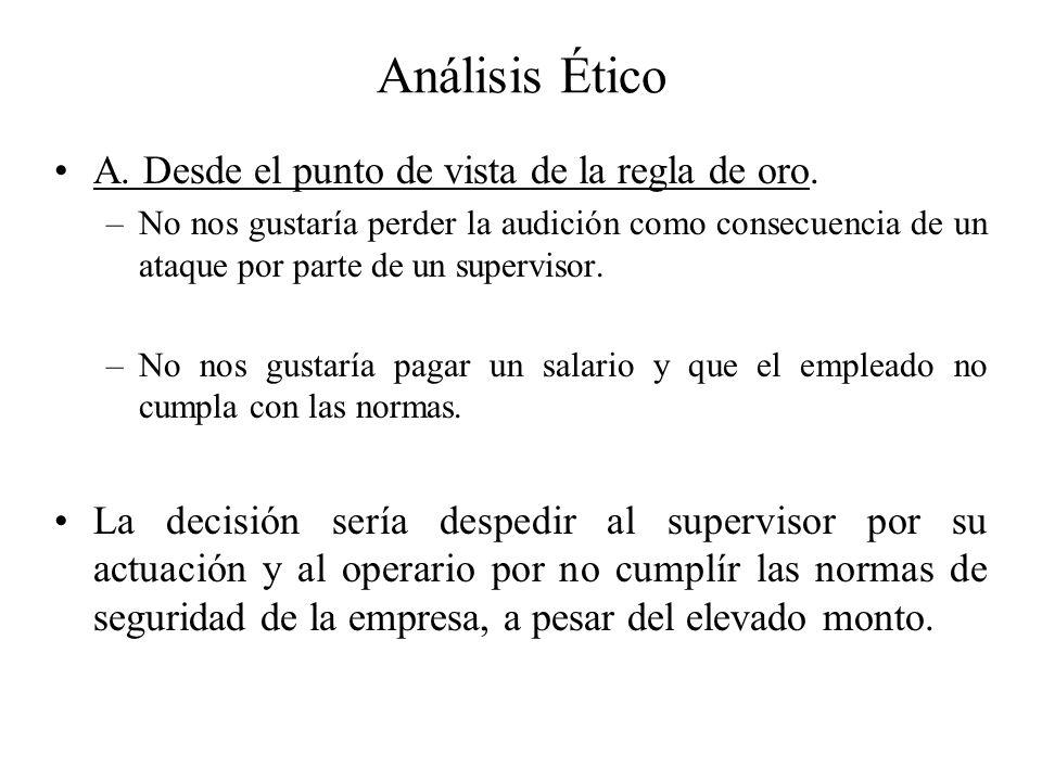 Análisis Ético A.Desde el punto de vista de la regla de oro.